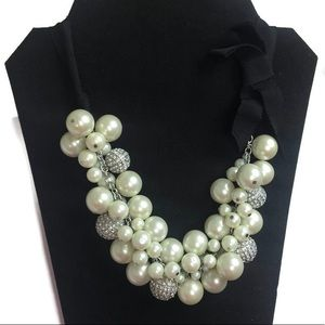 Ann Taylor Pave Pearl Cluster Bow Ribbon Necklace